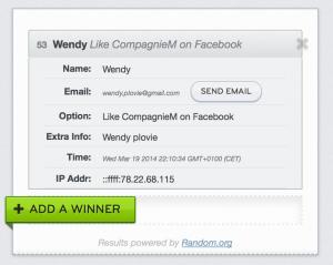 Giveaway winner  19:3