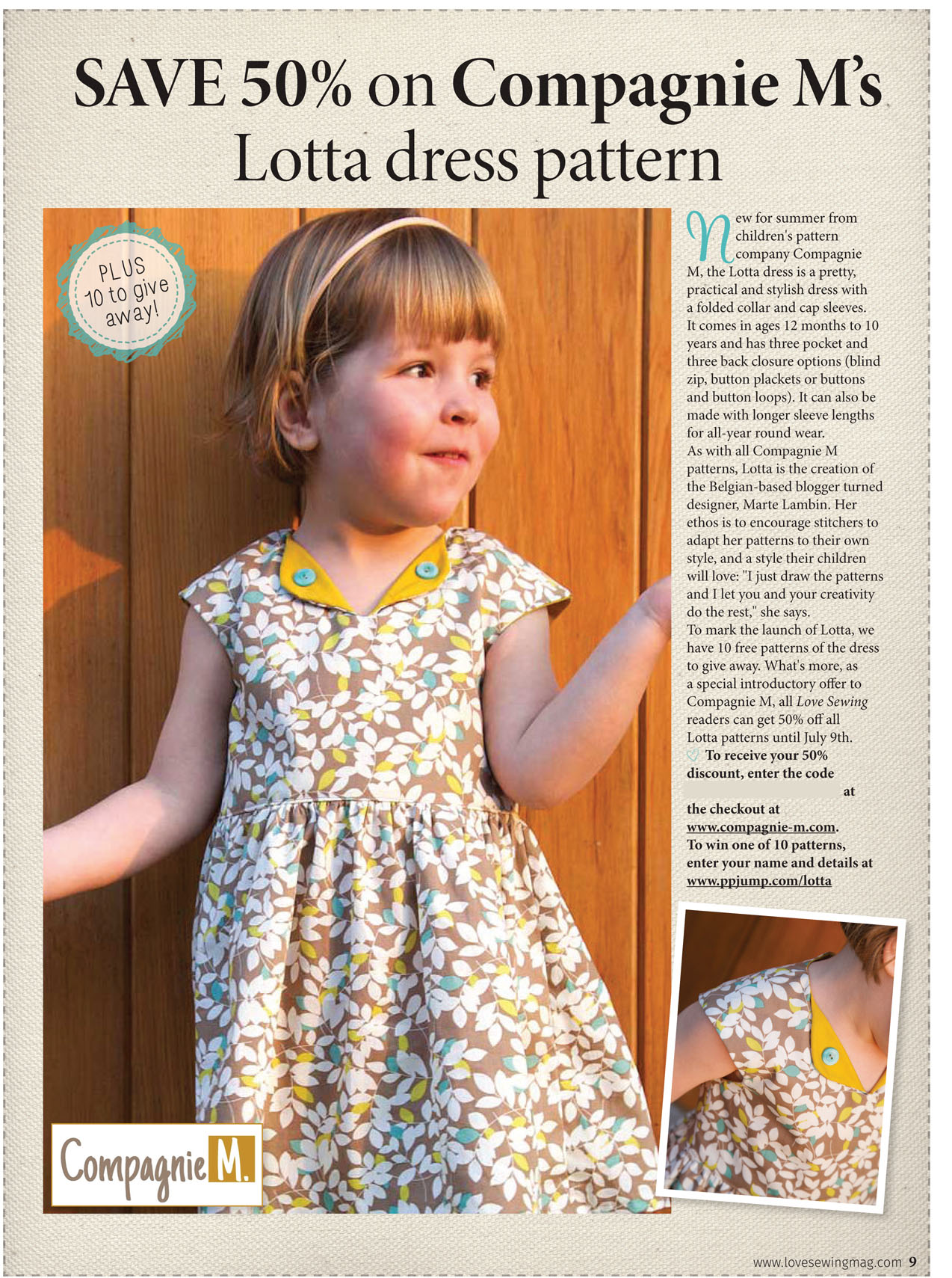 My Lotta dress in Love Sewing magazine UK + give away!