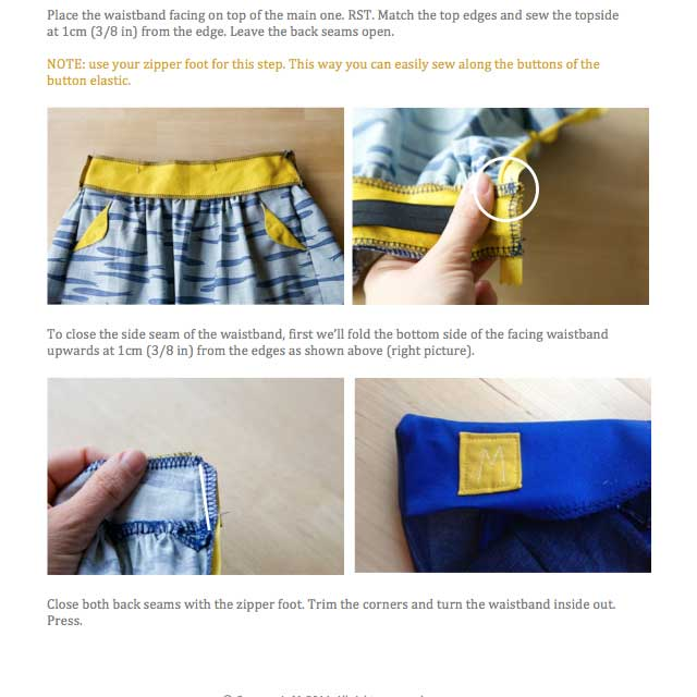 Lotta skirt instruction details