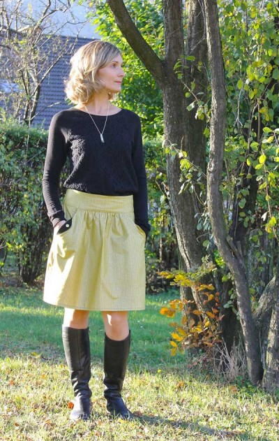 The Lotta skirt pattern sewn by c'est la vie.