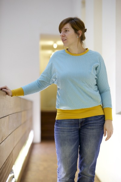 The Julia sweater pattern by Compagnie M. for kids, teens and adults.