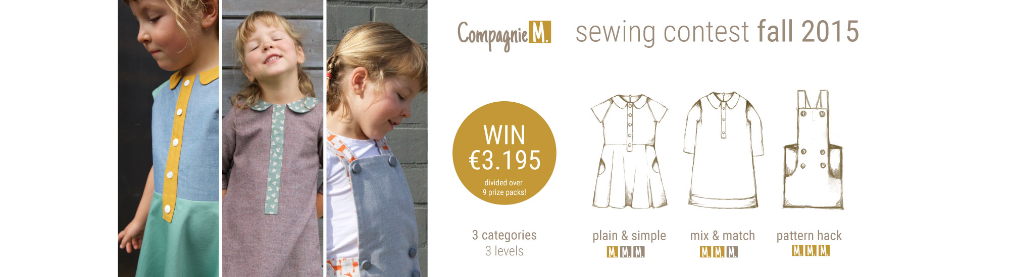 Compagnie M. sewing contest fall 2015: 3 categories (levels), 9 prize packs worth 3.195 euro in total!